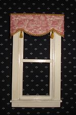 "Red Toile  Valance Dollhouse Curtains - 3 "" W x 1 1/4 "" L"
