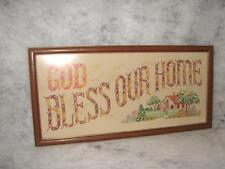 Antique Hand Crafted Handmade Cross Stitched Sampler God Bless Our Home