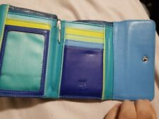 Mywalit Leather Double Flap Outer Zip and Pen Seascape tri fold women wallet