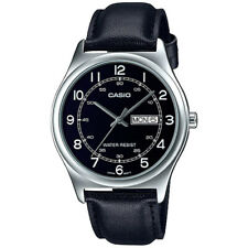 NEW Casio MTP-V006L-1B2 Men's Analog SILVER-tone Watch BLACK Leather Band DATE