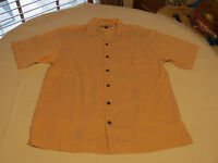 Tommy Bahama silk Men's short sleeve button up shirt M lt orange or peach GUC@