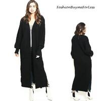 Bohemian BOHO Open Front Ribbed Chunky Knit Maxi Sweater Cardigan Coat S M L XL