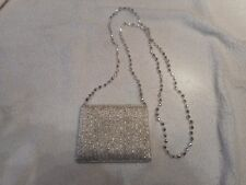 Silver Beaded Coin Purse with long shoulder strap