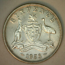 1953 Silver Australia Six Pence Coin BU