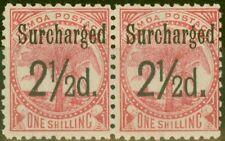 More details for samoa 1898 2 1/2d on 1s dull rose-carmine sg86 fine lightly mtd mint pair