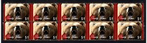 GRIZZLY BEAR STRIP OF 10 MINT E/S VIGNETTE STAMPS 2