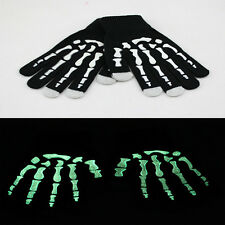 Skull Skeleton Glow In The Dark Touch Phone Screen Knit Gloves Winter Mittens
