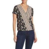 New LUCKY BRAND Womens Medium Black Woodblock Floral Surplice Neck Top M nwt