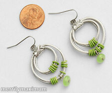 Chico's Earrings Silver Tone Double Ring Dangles Green Bead Accents Hooks