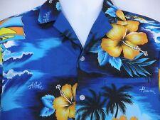 Kalena Fashions Vintage Hawaii Blue Aloha Camp Wind Surfer Small Shirt Hibiscus