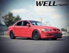 WellVisors For 03-08 Mazda 6 Sedan Smoke Tint W/ Black Trim Side Window Visors