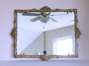 dated 1952 MID CENTURY steampunk hollywood regency GILT plaster & wood mirror