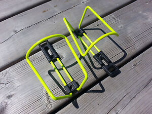 PAIR X2 VINTAGE BICYCLE WATER BOTTLE CAGE HOLDER ITALY MARINONI NOS FLUO YELLOW