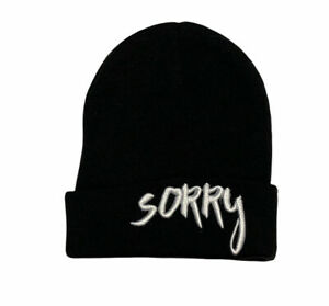 """2016 Official Licensed Tour Merchandise Justin Bieber """"SORRY"""" Black Knit Beanie"""
