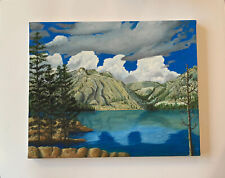 Painting Landscape Mountain Lake Clouds Original By A. Huff Oil Or Acrylic