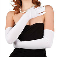 """21"""" Long Flapper Evening Opera Satin Gloves For Womens Ladies Elbow Length 1920s"""