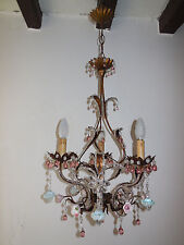 ~c 1940 French Pink Prisms Beaded Crystal Flowers Roses Helix Tole Chandelier~