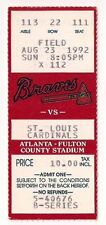 Atlanta Braves vs St Louis Cardinals Ticket Stub 8/23/92 @ Fulton County Stadium