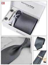 Mens Tie Set Dress Silk Tie Cufflinks Hanky Tie Clip Gift Box Grey with Strips