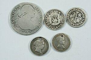 Lote 5 Monedas España De Felipe V a Isabel II 1/ a 2 Reales, 3 con agujero