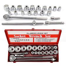 "21Pc 3/4"" Socket Tool Drive Wrench MetricTool Bit Set Ratchet 19-50mm Metal Case"