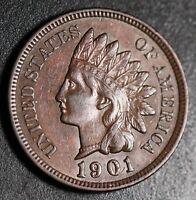 1901 INDIAN HEAD CENT -With LIBERTY & Near 4 DIAMONDS - AU UNC