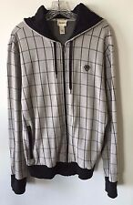 DIESEL Plaid Check Hoodie Black Gray Men's Size XL
