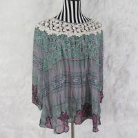 Umgee Boho Peasant Multi Color Crochet Long Sleeve Top Size 1XL