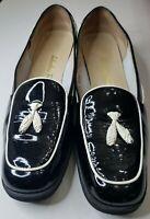 Women SALVATORE FERRAGAMO  8.5 B Blk Patent Leather  Ballet Flats made in Italy