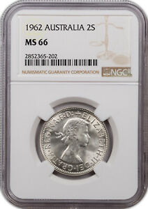 1962 AUSTRALIA SILVER 1 FLORIN NGC MS66 FINEST KNOWN GRADE
