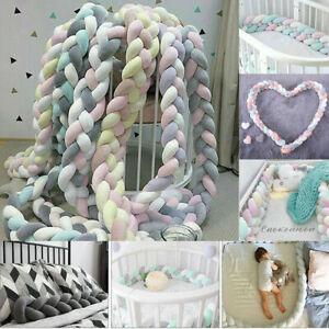 Child Crib Bumper Knot Ball Plush Bedding Bed Cot Braid Pillow Protector Soft UK