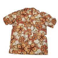 Mens Aloha Republic Hawaiian Shirt L Orange Hibiscus Short Sleeve Cotton Floral