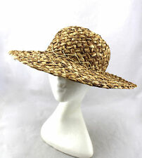 LORD & TAYLOR Vintage Natural Straw Woven Italy Wide Brim Sun Summer Hat