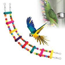 Pet Bird Swing Wooden Ladder Bridge Climb Cockatiel Parakeet Budgie Parrot Toy
