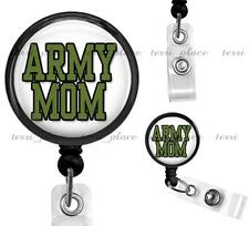 Military Army Mom Work ID Badge Holder Retractable Identification Card Reel