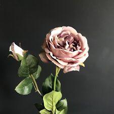 Realistic Antique Purple Artificial Rose, Luxury Faux Silk Flower Roses