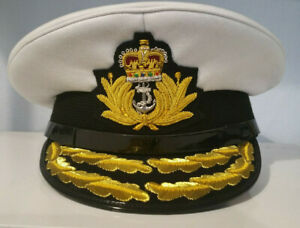 British Royal Navy Admiral Flag Officers Peaked Cap / Hat Current Issue ERII