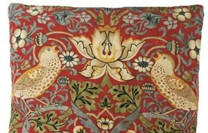 William Morris Cushion Cover Red Strawberry Thief  Floral Birds Fabric Rectangle