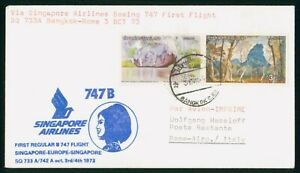 MayfairStamps Thailand 1973 Bangkok to Rome Italy Aviation Singapore Airlines Bo