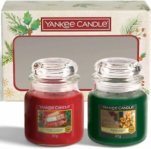2 x Yankee Candle Xmas Scented Candles Unwrap the Magic + Singing Carols 75hr