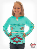 Cowgirl Tuff Girls's Turquoise Thermal Strap Long Sleeve Aztec Tee 100182
