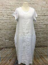 Puro Lino langes Leinen Maxi Kleid Übergröße Gr 44 46 48 Ballon Lagenlook  weiß