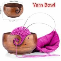 Yarn Bowl Handmade Knitting Crocheting Storage Organizer Wooden Bowl Holder