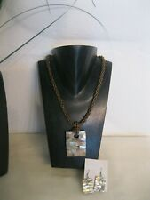 Abalone Shell & Bead Necklace & Earring Set Earth Tones & Brown