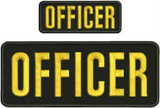 OFFICER EMBROIDERY PATCH 4X10 AND2X5 HOOK ON BACK blk/gold