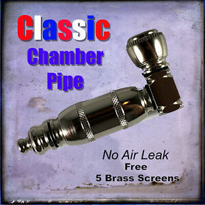 Classic Chamber Pipe  Brass Nickle Metal Tobacco Smoking Herb