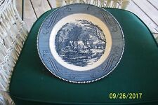 ROYAL CURRIER & IVES BLUE THE OLD GRIST MILL DINNER PLATES 4 IN VGC  UNDERGLAZE