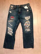 ZARA Women's Low-rise Straight Fit Cropped Jean(Blue, US 10/EUR 42)