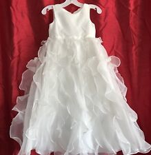 07118c49493 Organza Flower Girl Dress With Ruffled Skirt Style H1281 Soft White 4