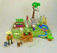 Playmobil Spielset aus 3124 Bauernhof Gemüsegarten Ziegen Leiterwagen